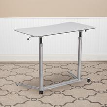 See Details - Sit-Down, Stand-Up Light Gray Computer Ergonomic Desk with 37.375''W Top (Adjustable Range 29'' - 40.75'')