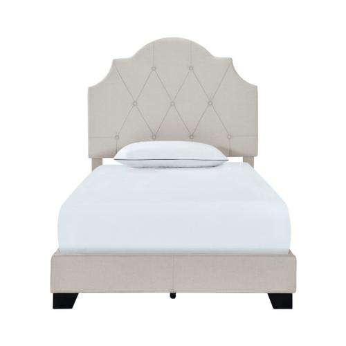 Accentrics Home - Saddle Tufted Twin Upholstered Bed in Light Gray