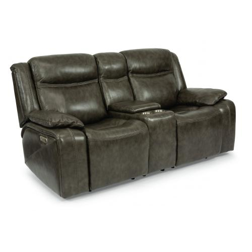 Journey Power Reclining Loveseat with Console & Power Headrests