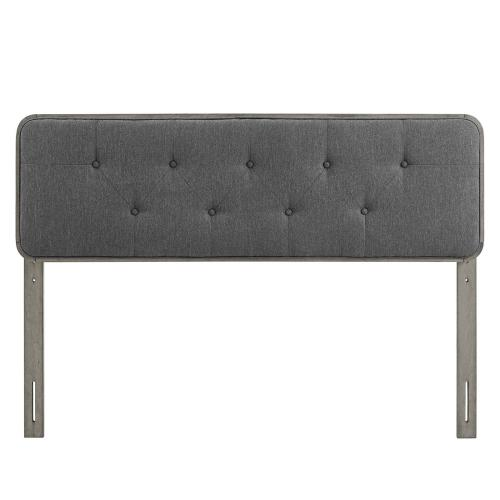Collins Tufted Queen Fabric and Wood Headboard in Gray Charcoal