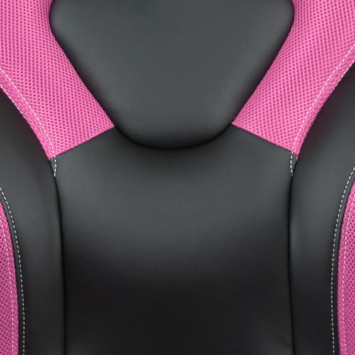 Gallery - Black Gaming Desk and Pink\/Black Racing Chair Set with Cup Holder, Headphone Hook & 2 Wire Management Holes