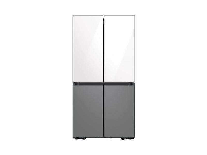 29 cu. ft. Smart BESPOKE 4-Door Flex™ Refrigerator with Customizable Panel Colors in White Glass Top and Grey Glass Bottom
