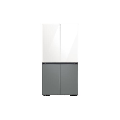 Samsung - 23 cu. ft. Smart Counter Depth BESPOKE 4-Door Flex™ Refrigerator with Customizable Panel Colors in White Glass Top and Grey Glass Bottom