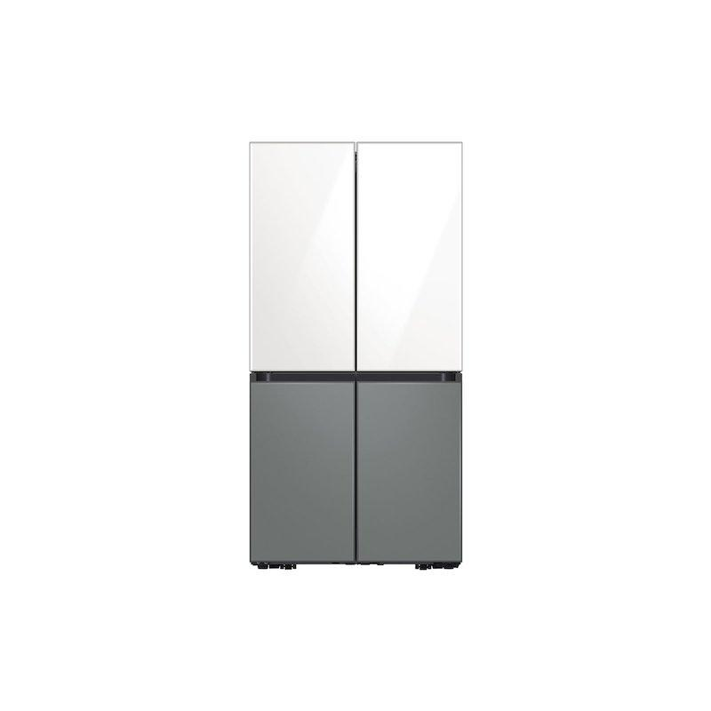 29 cu. ft. Smart BESPOKE 4-Door Flex Refrigerator with Customizable Panel Colors in White Glass Top and Grey Glass Bottom