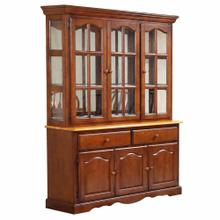 See Details - Treasure Buffet and Lighted Hutch - Nutmeg and Light Oak