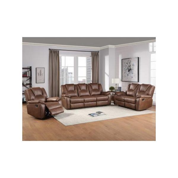 Katrine 3-Piece Manual Reclining Set, Brown (Sofa, Loveseat & Chair)