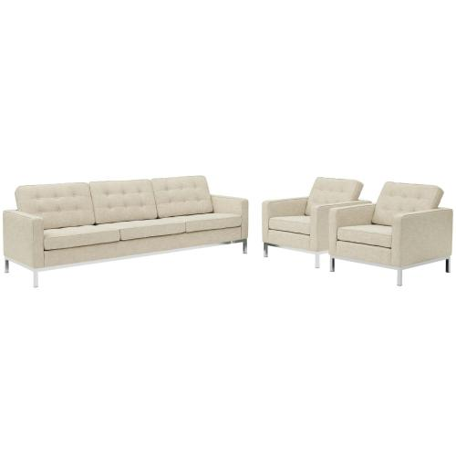 Loft 3 Piece Upholstered Fabric Sofa and Armchair Set in Beige