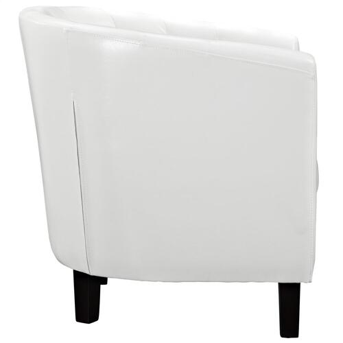 Prospect Upholstered Vinyl Armchair in White