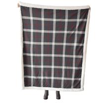 Grey & Red Plaid Knit Sherpa Throw