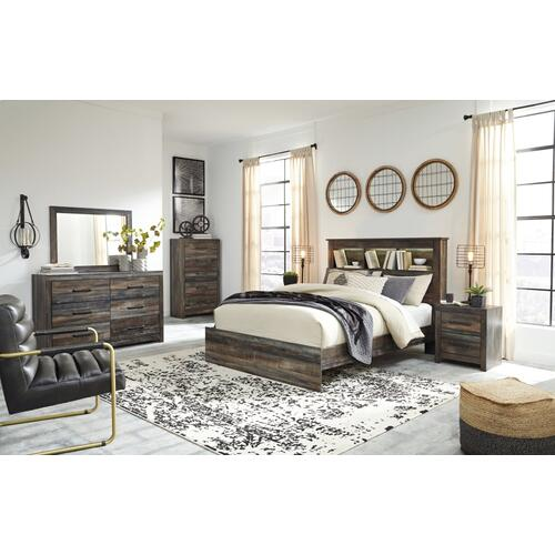 Queen/full Bookcase Headboard With Mirrored Dresser, Chest and 2 Nightstands