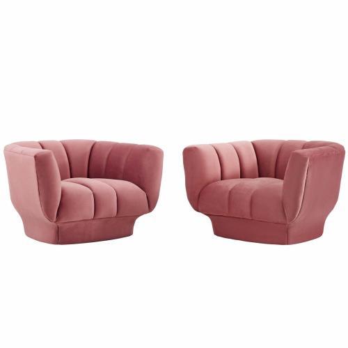 Entertain Vertical Channel Tufted Performance Velvet Armchair Set of 2 in Dusty Rose