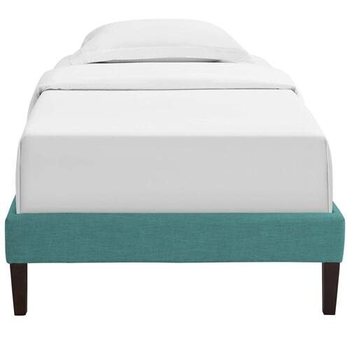 Tessie Twin Fabric Bed Frame with Squared Tapered Legs in Teal