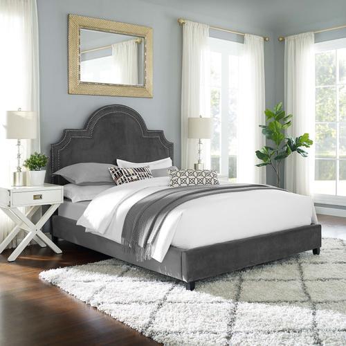 Primrose Queen Performance Velvet Platform Bed in Gray