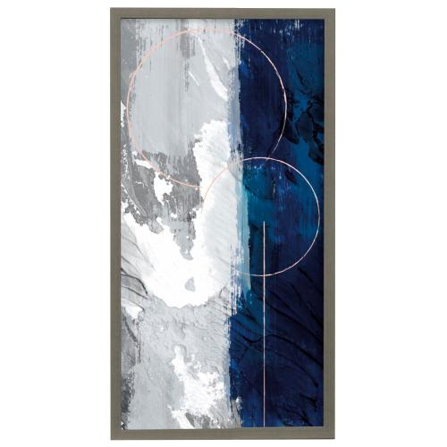 Style Craft - Indigo Obelisk I  22in X 42in Promotional Framed Print Under Glass  Ready to Hang