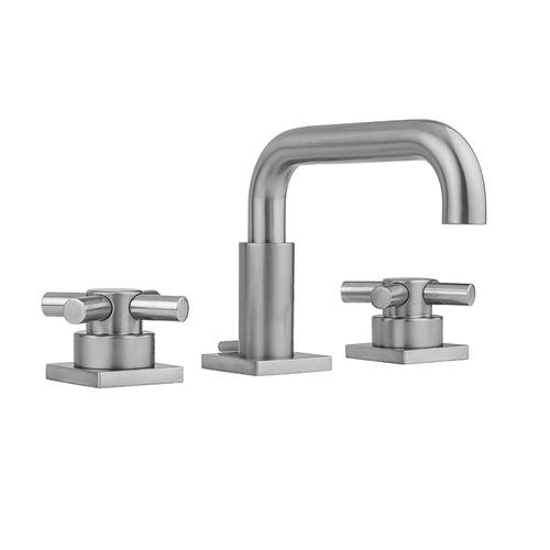 Product Image - Pewter - Downtown Contempo Faucet with Square Escutcheons & Contempo Cross Handles & Fully Polished & Plated Pop-Up Drain