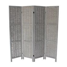 7046 GRAY Rustic Woven 4-Panel Room Divider