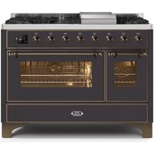 Majestic II 48 Inch Dual Fuel Natural Gas Freestanding Range in Matte Graphite with Bronze Trim