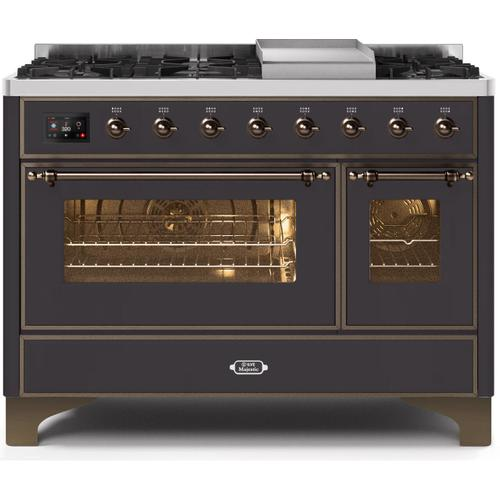 Gallery - Majestic II 48 Inch Dual Fuel Natural Gas Freestanding Range in Matte Graphite with Bronze Trim