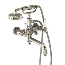 Arcade Exposed Wall-mount Bathtub Faucet with Handshower and White Lever Handles - Polished Chrome