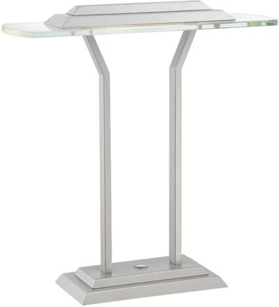LED Table Lamp, Silver/clear Tempered Glass, LED Bulb 8w