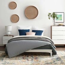 View Product - Lodge Queen Wood Platform Bed Frame in White