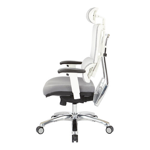 Breathable White Vertical Mesh Chair With Headrest