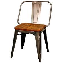 Brian Metal Side Chair Wood Seat, Gunmetal