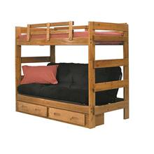 Heartland Futon Bunk Bed with Metal Deck with options: Honey Pine, Not Included, 2 Drawer Storage