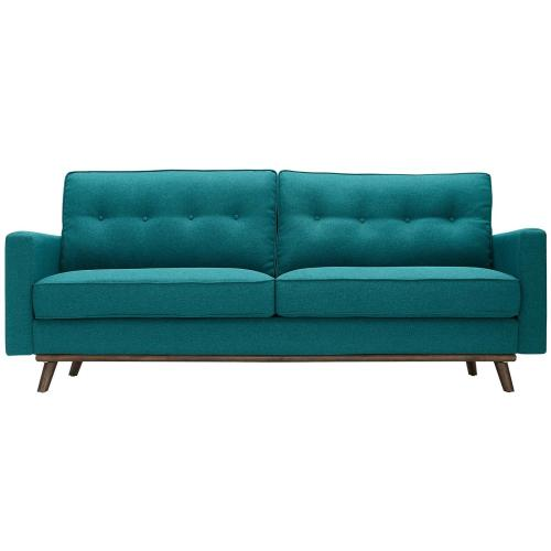 Prompt Upholstered Fabric Sofa in Teal