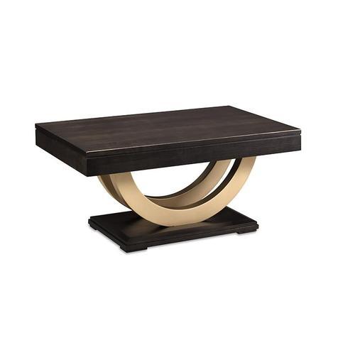 - Contempo Pedestal Condo Coffee Table with Metal Curves