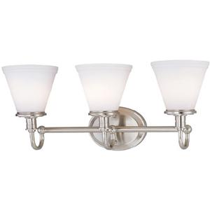 3-lite Wall Lamp, Ps W/frost Glass Shade, Type A 60wx3