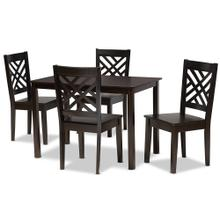 See Details - Baxton Studio Ani Modern and Contemporary Dark Brown Finished Wood 5-Piece Dining Set