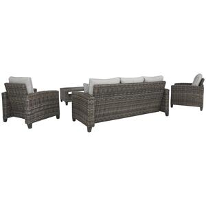 Cloverbrooke Outdoor Sofa with 2 Chairs and Table