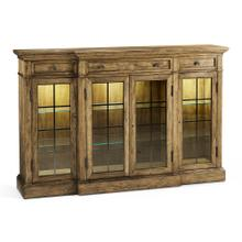 Medium Driftwood Four Door China Display Cabinet