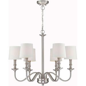 6-lite Chandelier, Ps/white Fabric Shade, E12 Type B 40wx6
