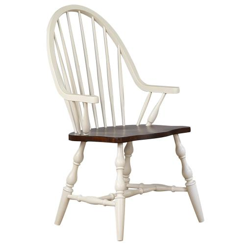 Windsor Dining Chair with Arms -Antique White & Chestnut Brown