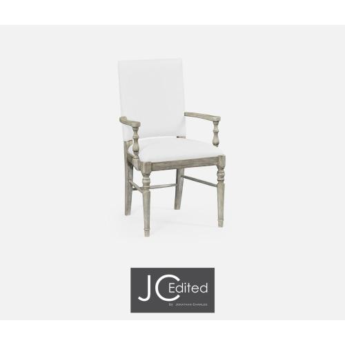 Rustic grey upholstered armchair (COM)