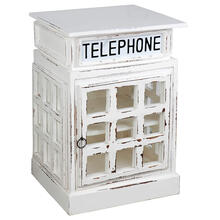 View Product - Cottage English Phone Booth End Table - Distressed White