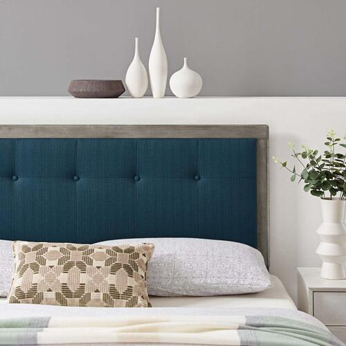 Draper Tufted King Fabric and Wood Headboard in Gray Azure