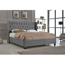 7559 Wing Back Fabric Platform Bed - CALIFORNIA KING