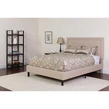 Roxbury Twin Size Tufted Upholstered Platform Bed in Beige Fabric