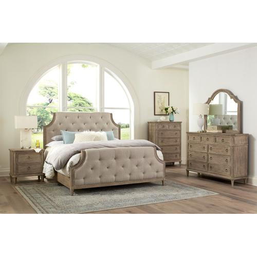 Tuscany Queen Upholstered Bed, Brown