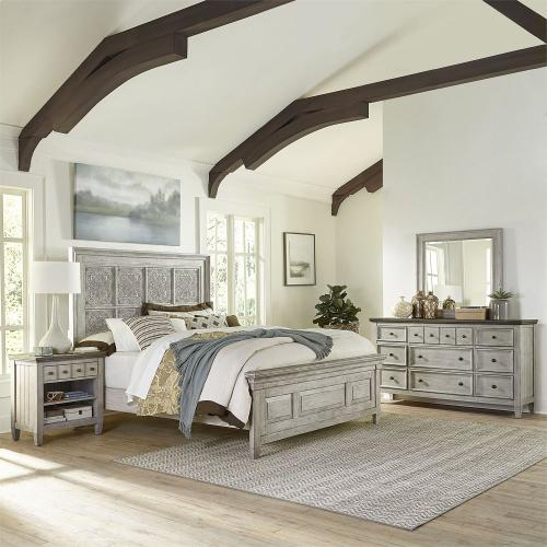Opt Queen Panel Bed, Dresser & Mirror, N/S