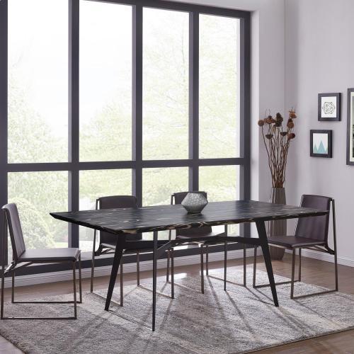 Hamburgh KD Striped Ebony Wood Veneer Dining Table, Ebony