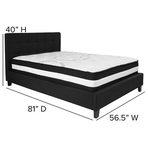 Chelsea Full Size Upholstered Platform Bed in Black Fabric with Pocket Spring Mattress