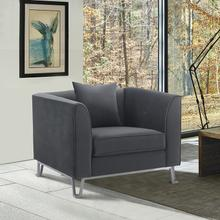 See Details - Everest Gray Fabric Upholstered Sofa Accent Chair with Brushed Stainless Steel Legs