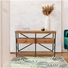Hanover Lille Mango Wood and Iron Console Table with 3 Shelves and 2 Drawers, 55-In. W x 18-In. D x 34-In. H, HLR004-NAT