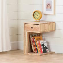 Solid Wood Reversible 1-Drawer Nightstand - Natural Wood