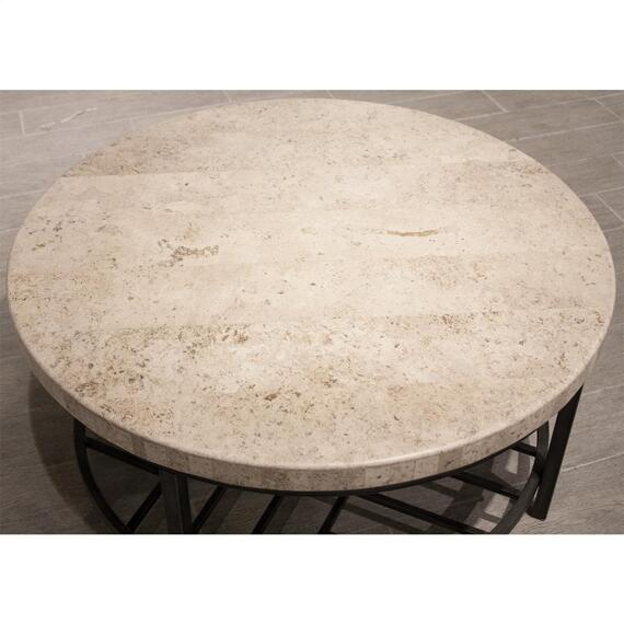 Riverside - Capri - Round Coffee Table - Alabaster Travertine Finish