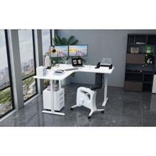 Hanover 73-In. L-Shaped Sit or Stand Electric Height Adjustable Desk with Triple Motor System, White, HSD0452-WHT